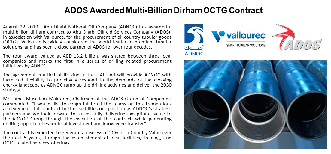 ADOS Awarded Multi-Billion Dirham OCTG Contract | Abu Dhabi